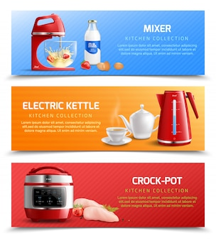 Household kitchen appliances horizontal banners with electric kettle mixer and crock pot