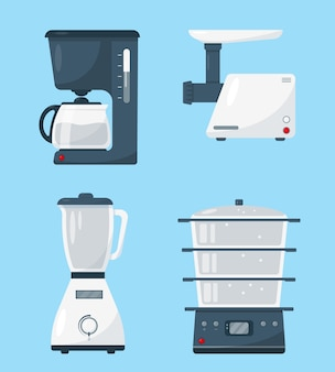 Household kitchen appliances isolated on blue background