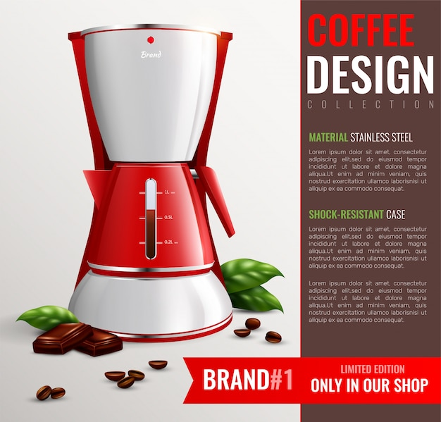 Household kitchen appliances with advertisement of coffee machine brand