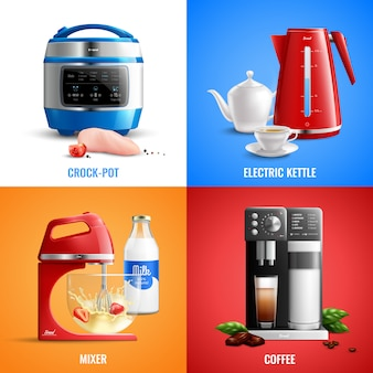 Household kitchen set of coffee machine mixer electric kettle crock pot