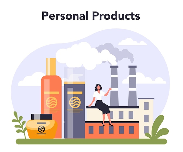 Household and personal products industry sector of the economy. flat vector illustration