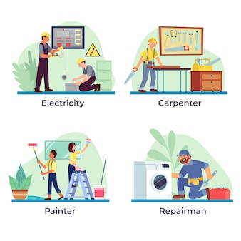 Household and renovation professions collection