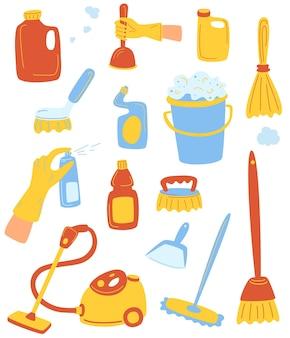 가정 용품 및 청소 세트입니다. 집 청소 도구입니다. 청소 용품 세트입니다. 청결과 질서의 개념입니다. 웹 배너, 웹 사이트, 인쇄물, 인포그래픽용. 벡터
