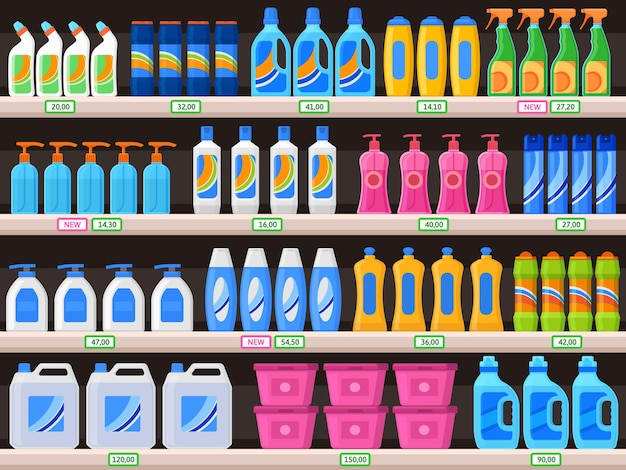 Household supplies, chemical detergent bottles on supermarket shelves. detergents, cleaning powder, antibacterial soap vector illustration. shelves with household chemicals