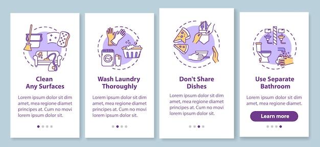 개념이 있는 모바일 앱 페이지 화면을 온보딩하는 가정 팁. 표면 청소, 세탁물 철저히 세척 4단계 그래픽 지침을 안내합니다. rgb 컬러 일러스트가 있는 ui 벡터 템플릿