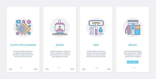 Household tools devices for cleaning home ux ui onboarding mobile app page screen set