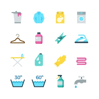Household washing drying and laundry vector flat icons