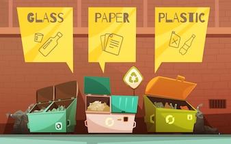 Сортировка бытовых отходов цветными контейнерами