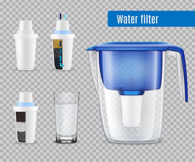 Household water filter pitcher with 3 replacement carbon cartridges and full glass realistic set transparent
