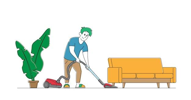 거실에서 진공 청소기로 집을 진공 청소기로 청소하는 가정용 캐릭터