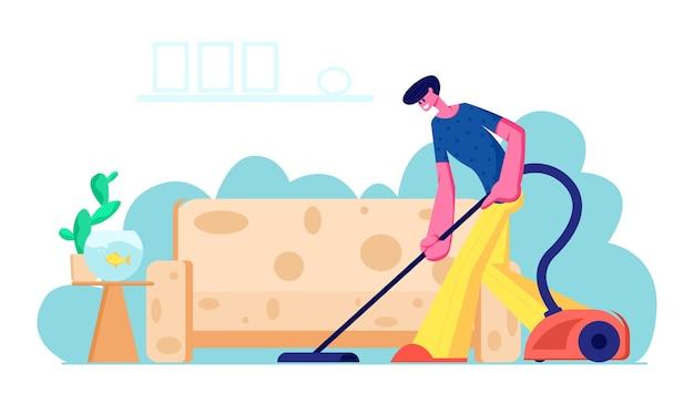 居間で掃除機を使って家を掃除する家主。