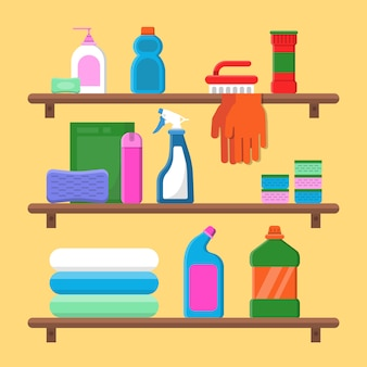 Households goods shelves. chemical detergent bottles in laundry service room vector flat composition