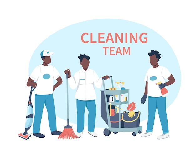 Домашнее хозяйство дело плоские цветные безликие персонажи. афро-американские дворники с чистящими средствами изолировали иллюстрацию шаржа для веб-графического дизайна и анимации. фраза команды уборщиков