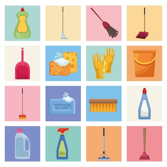 Housekeeping chores sixteen icons