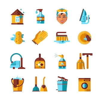 Housekeeping cleaning flat icons set