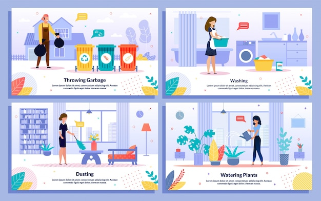 Housekeeping and cleaning jobs vector banners set
