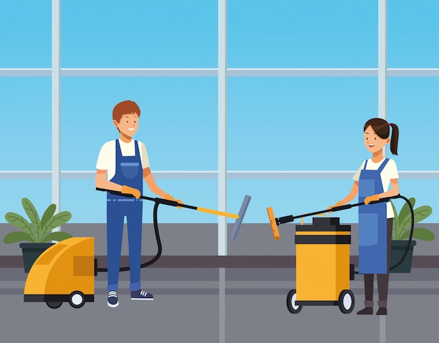 Housekeeping couple workers cleaning corridor with tools characters