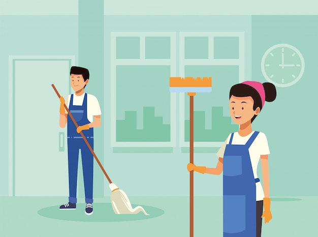 ツールのキャラクターと家事のカップルの労働者