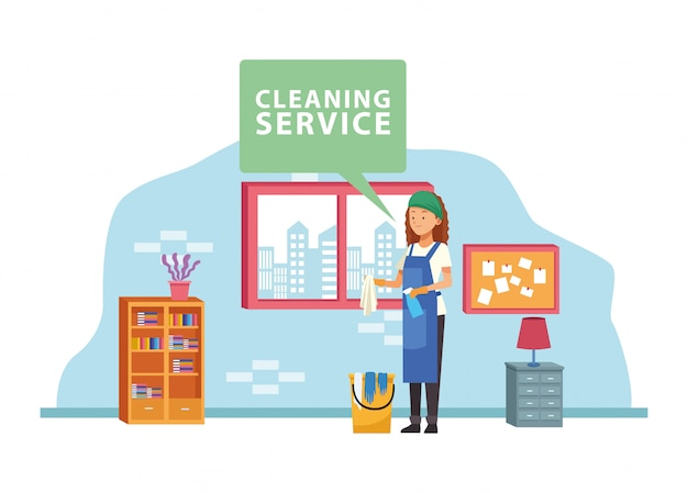 Housekeeping female worker with bucket and spray bottle avatar character