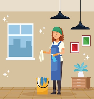 Housekeeping female worker with cleaner bucket