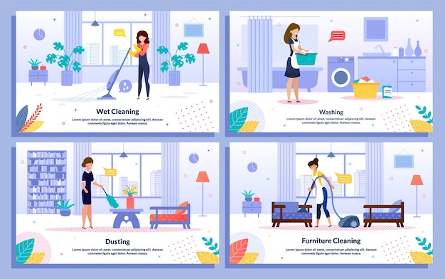 Housekeeping jobs flat  promo bannerset