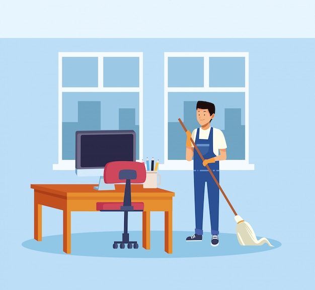 Housekeeping male worker with mop cleaning office