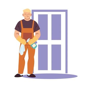 Домработник делает работу по уборке дома