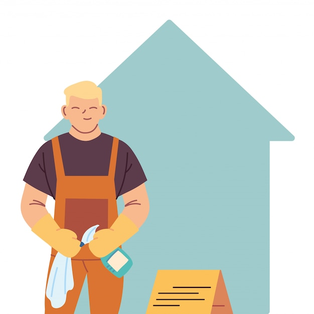 Housekeeping man doing house cleaning work