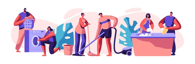 Housekeeping and routine. scrubwoman and man cleaning dirty clothes, floor. chores domestic, working with electronic machine. technology cleanliness. flat cartoon vector illustration
