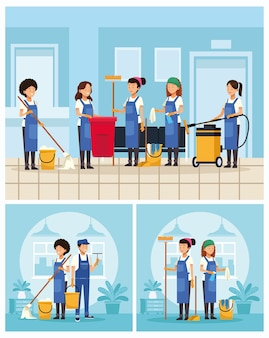Housekeeping team workers with tools scenes