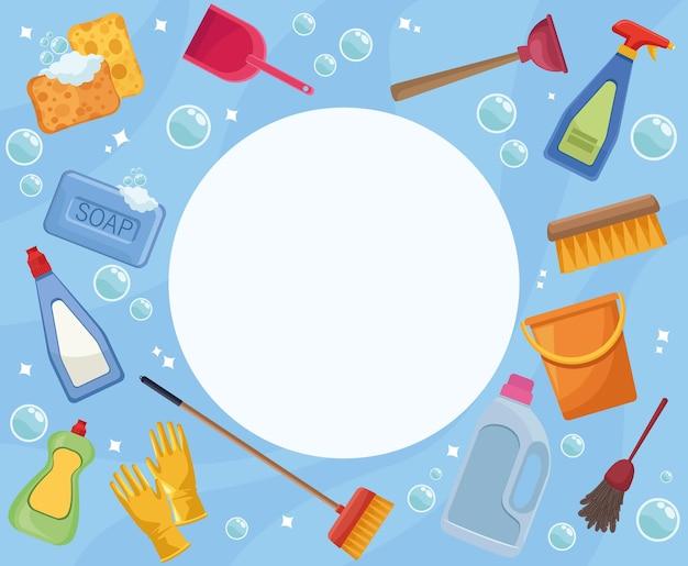 Housekeeping tools circular frame