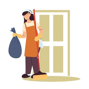Housekeeping woman doing house cleaning work