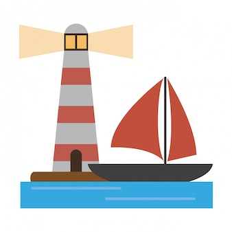 Houselight and sailboat symbol