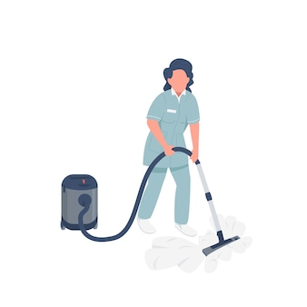 Housemaid with vacuum cleaner flat color faceless character. housekeeper in uniform isolated cartoon illustration for web graphic design and animation. female janitor using household appliance