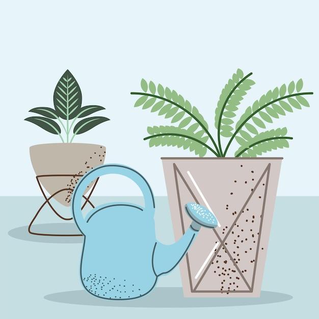 관엽식물과 물뿌리개