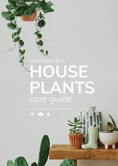 Houseplant care guide vector template for social media