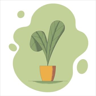 Houseplant in flowerpot vector illustration in flat style.