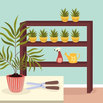 랙에 관엽 식물 원예