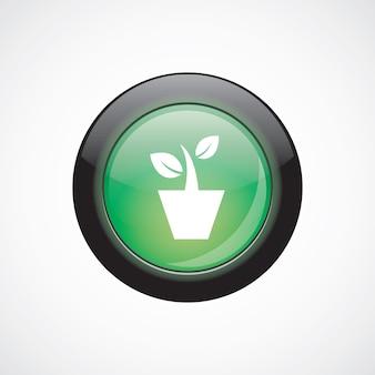 Комнатное растение стекло знак значок зеленая блестящая кнопка. кнопка веб-сайта пользовательского интерфейса