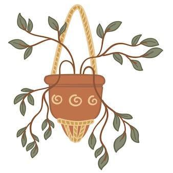 냄비에 실에 매달린 관엽식물, 작은 잎을 가진 식물의 고립된 아이콘. 식물의 단풍, 가정의 디자인 및 인테리어 장식. 즙이 많은 바구니. 평면 스타일의 벡터