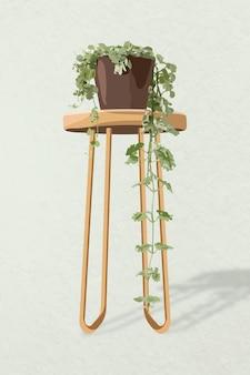 Immagine vettoriale di pianta d'appartamento, decorazione d'interni per la casa in vaso di edera inglese