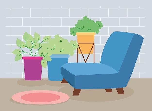 観葉植物と青いソファのシーン