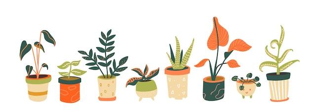 Houseplants 컬렉션 냄비에 다른 실내 식물 도시 정글 가로 배너