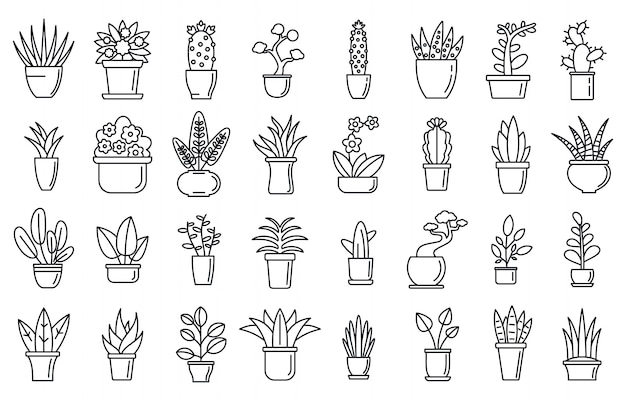 Houseplants flower icons set, outline style