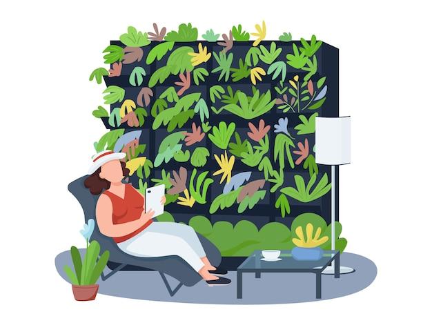 観葉植物、居心地の良いwebバナー、ポスター。漫画の背景にデッキチェアのキャラクターの女性。インテリア、花のプリント可能なパッチ、カラフルなウェブ要素の棚