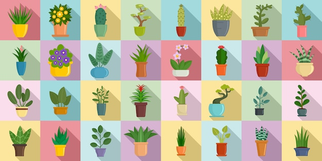 Houseplants icons set