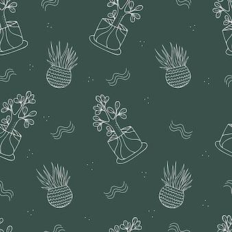 観葉植物、緑の背景に屋内植物とのシームレスなパターン