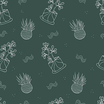 Houseplants, 녹색 배경에 실내 식물과 원활한 패턴