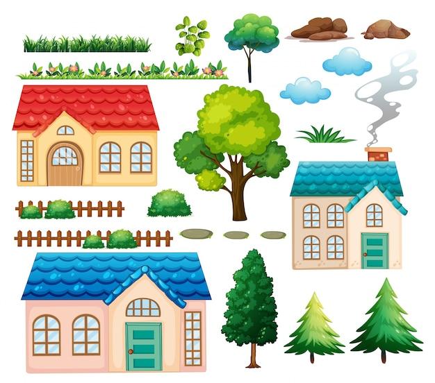 Иллюстрация домов и разных растений