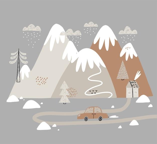 木々や雲のある家や山